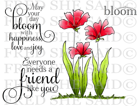Happy Flowers Rubber Stamp [00-840P5]
