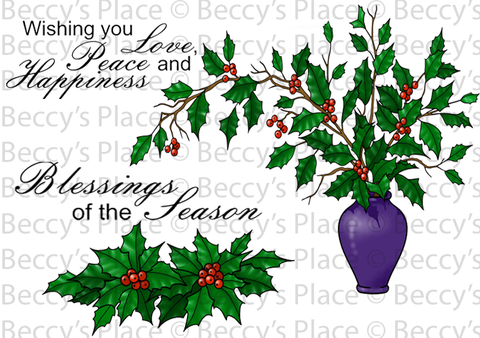 New Christmas Holly Blessings Rubber Stamp Set [00-841P5]