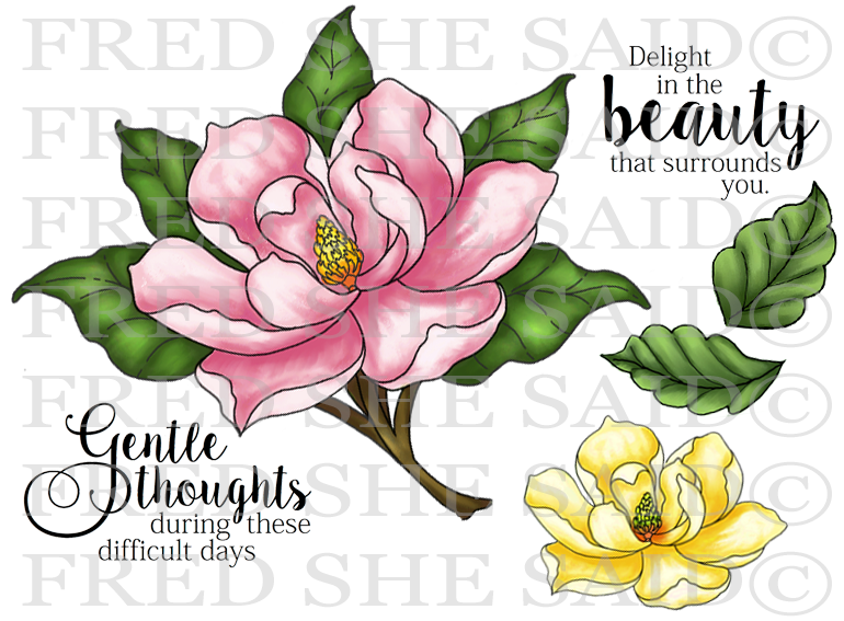 Lovely Magnolia Rubber Stamp Set, 00-853P5