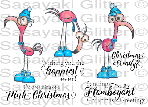 New Winter Flamingos Set 2 Rubber Stamp Set [00-861P5]