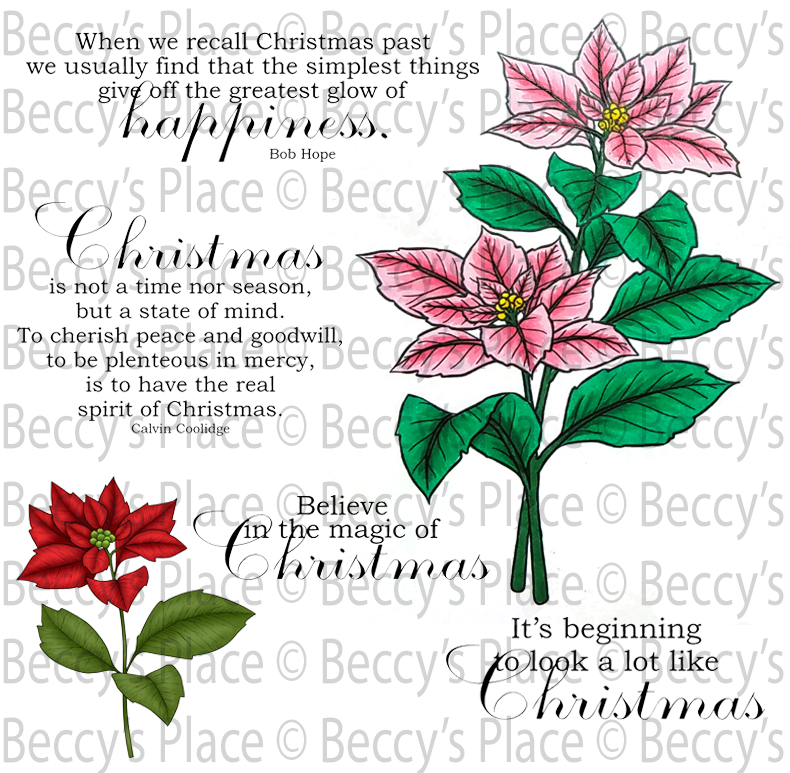 Spirit of Christmas Poinsettias Rubber Stamp Set [00-862P6]