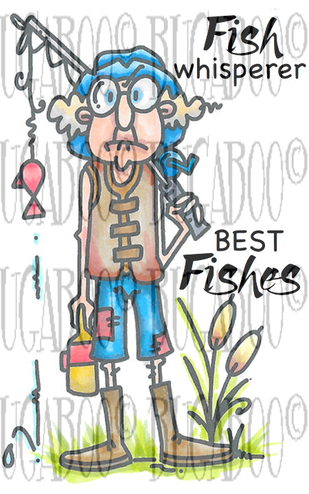 NEW   Gus-Fish Whisper Rubber Stamp Set [00-871P8]