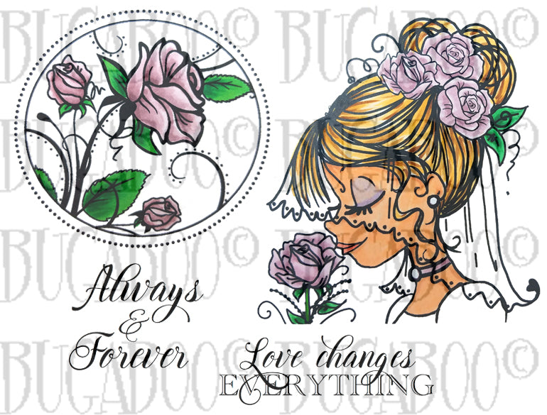 New   Cherished Moments - Bride Rubber Stamp Set [00-875P5]