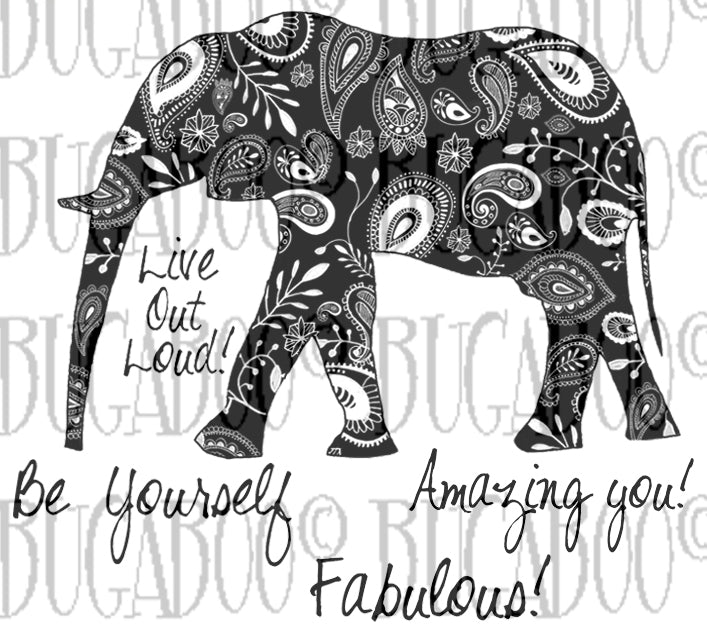 New  Amazing you- Paisley Elephant Rubber Stamp Set [00-884P5]