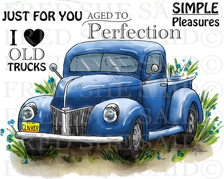 I Love Old Trucks Rubber Stamp Set [00-890P5]