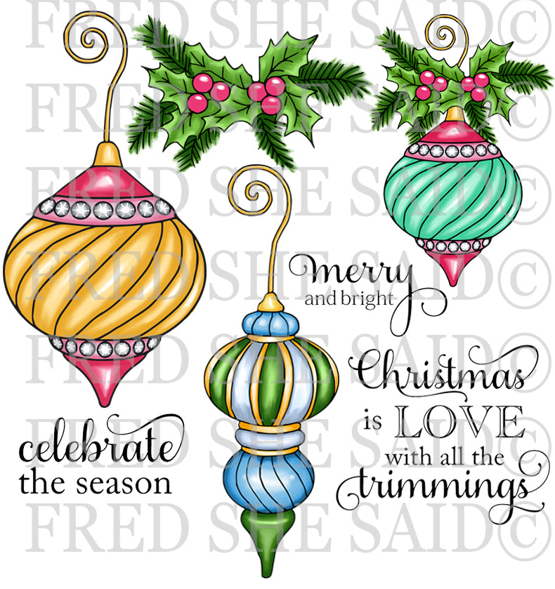 Christmas Baubles Rubber Stamp Set, 00-891P6