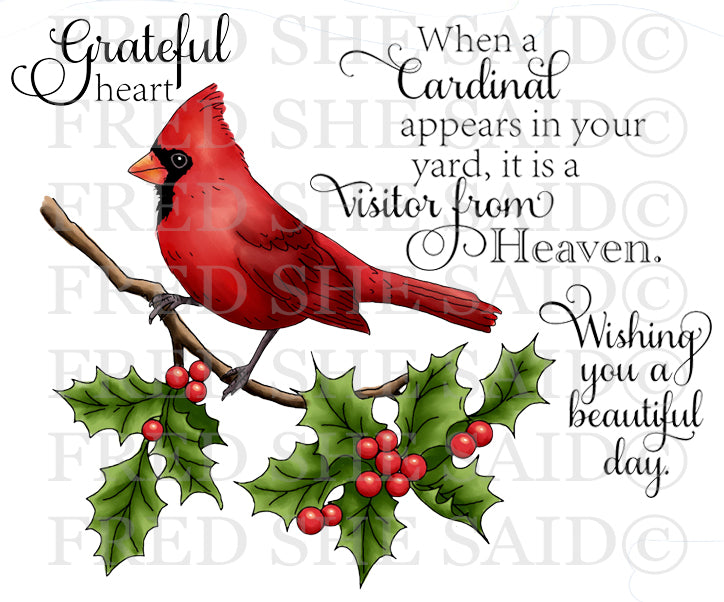 Cardinal & Holly Rubber Stamp Set [00-895P5]