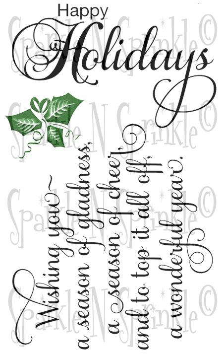 Happy Holidays Rubber Stamp Set, 00-897P8