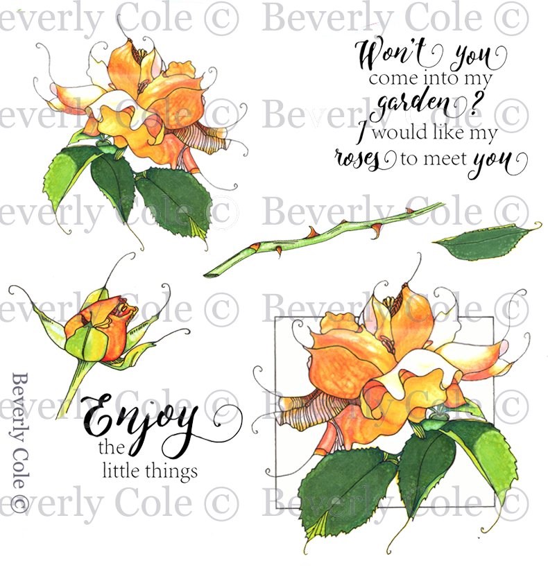My Wild Rose  Rubber Stamp Set [00-898P6]