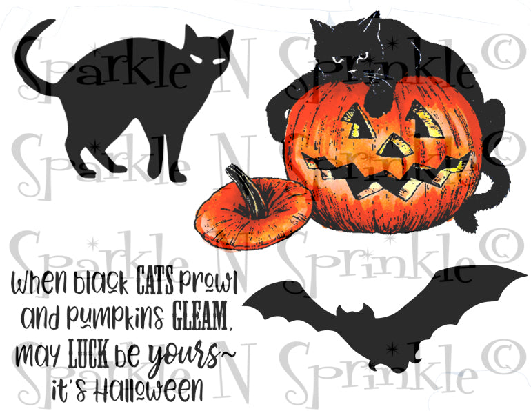 When Black Cats Prowl Rubber Stamp Set [00-903P5]