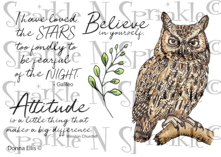 NEW   Great Horned Owl Rubber Stamp Set [00-912P5]