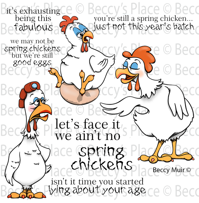 Spring Chickens Rubber Stamp Set [00-914P6]