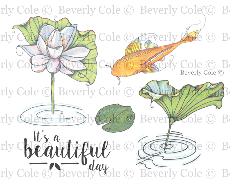 Koi Pond Beauty Rubber Stamp Set [00-918P5]