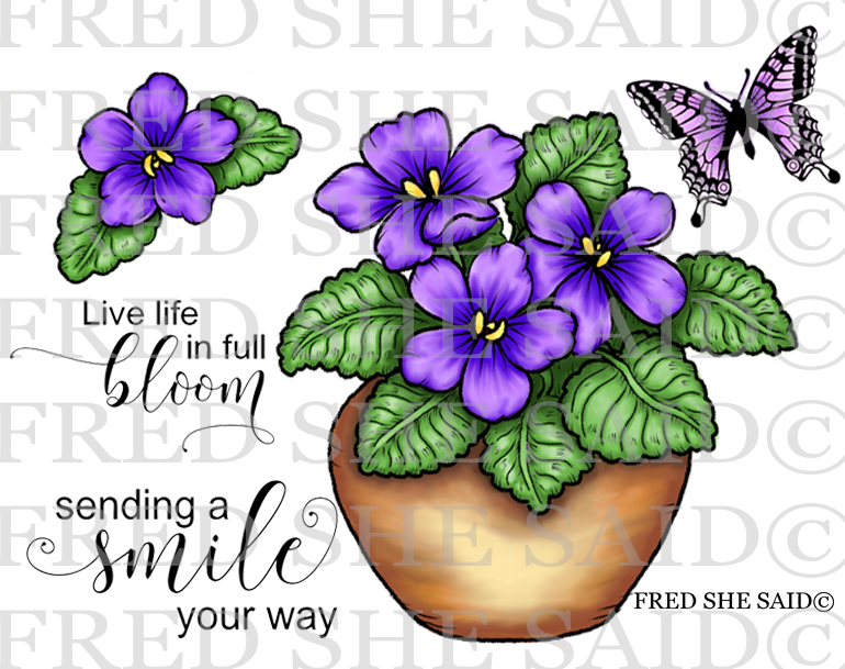 New    Violets For You Rubber Stamp Set, 00-925P5
