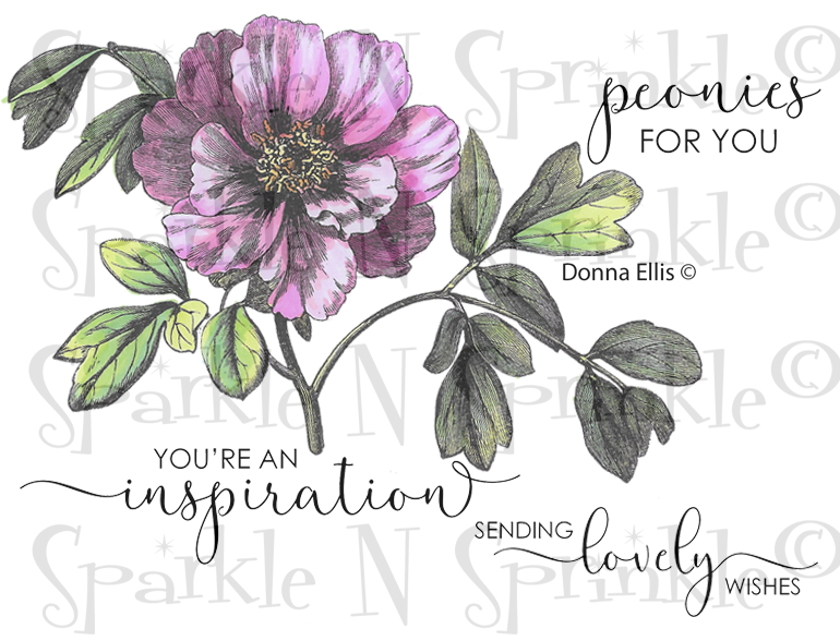 New Vintage Peony Inspiration Rubber Stamp Set, 00-930P5