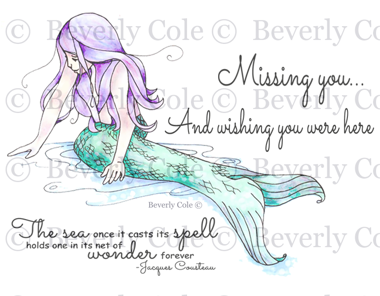 Mermaid Wishes Rubber Stamp Set, 00-936P5