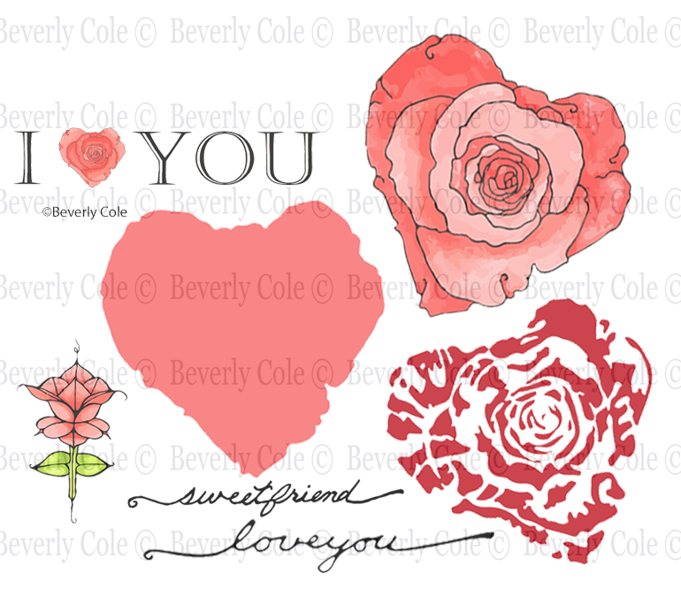 New  Rose Heart Rubber Stamp Set, 00-939P5