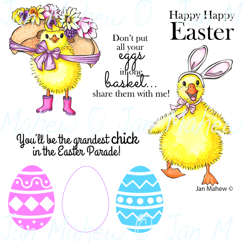 New Easter Parade Rubber Stamp Set, 00-945P6