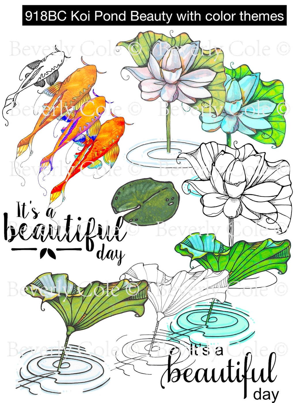 Koi Pond Beauty Digital Stamp Set, Digi918BC