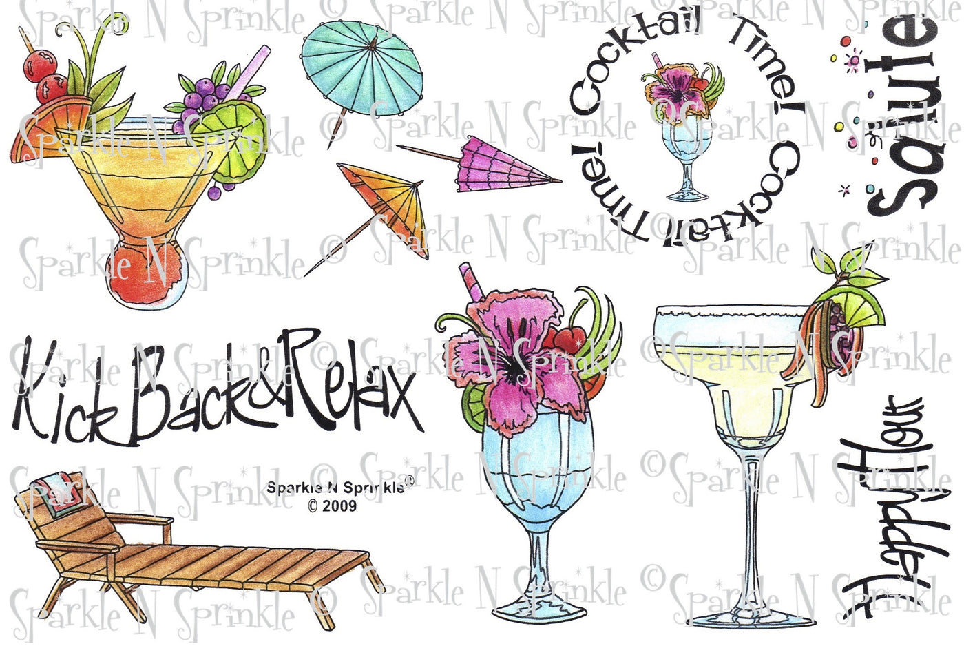 Cocktails Rubber Stamp Set [00-373P4]