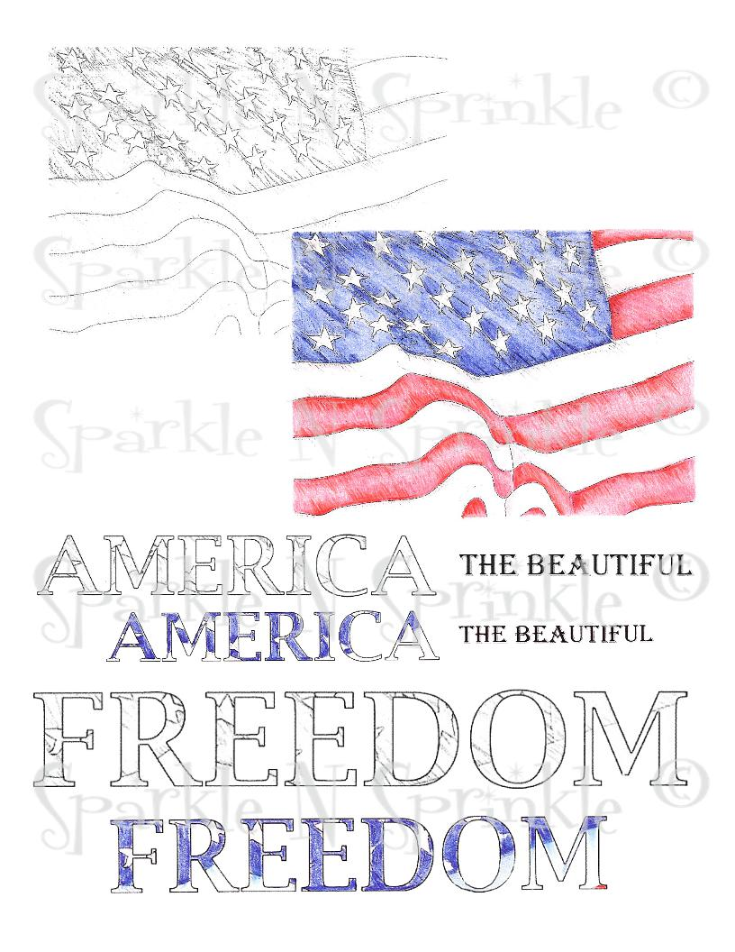 Patriotic Background Digital Stamp Set, Digi434J