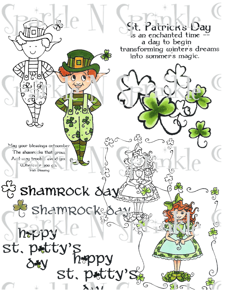 Irish Shamrocks Digital Stamp Set, Digi485MP