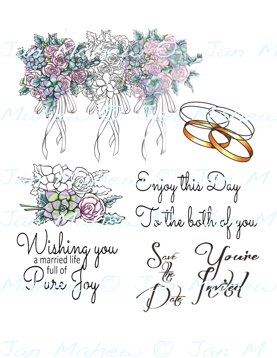 Succulent Bouquet Digital Stamp Set, Digi942JM