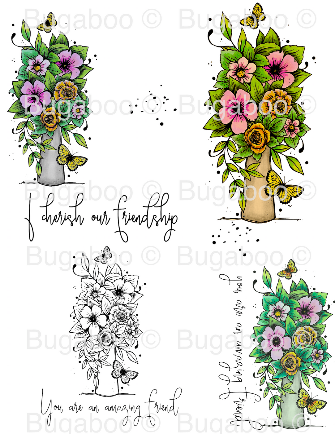 Vase of Flowers Digital Stamp Set, DIGI924BG