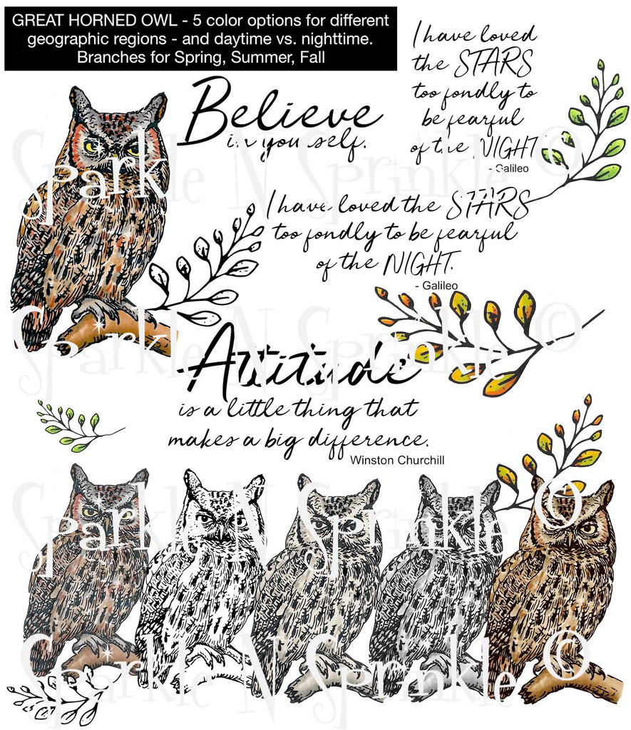 Great Horned Owl Digital Stamp Set [DIGI912DE]