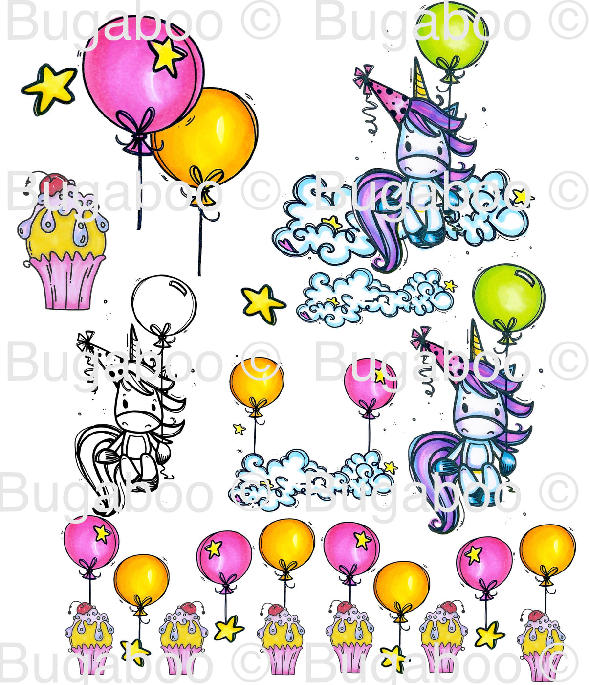 Unicorn Party Digital Stamp [Digi907BG]