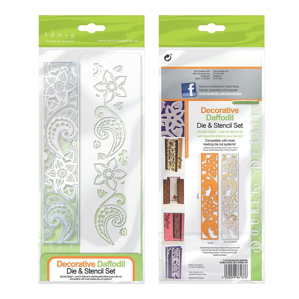 Double Detail Die & Stencil Decorative Daffodil [1137e]