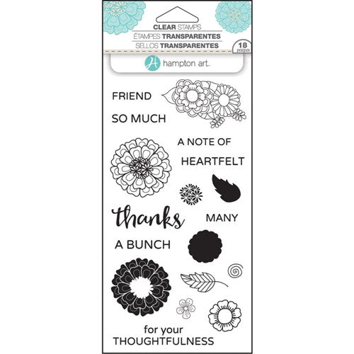 Layer Flower Thanks Hampton Art Rubber Stamp Set [SC0751]