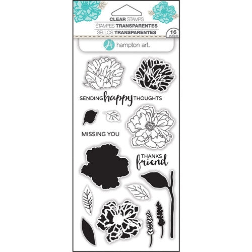 Flower Happy Layering Hampton Art Rubber Stamp Set [SC0748]