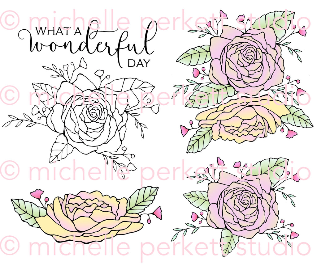 Rainbow Roses Digital Stamp, Digi3145M