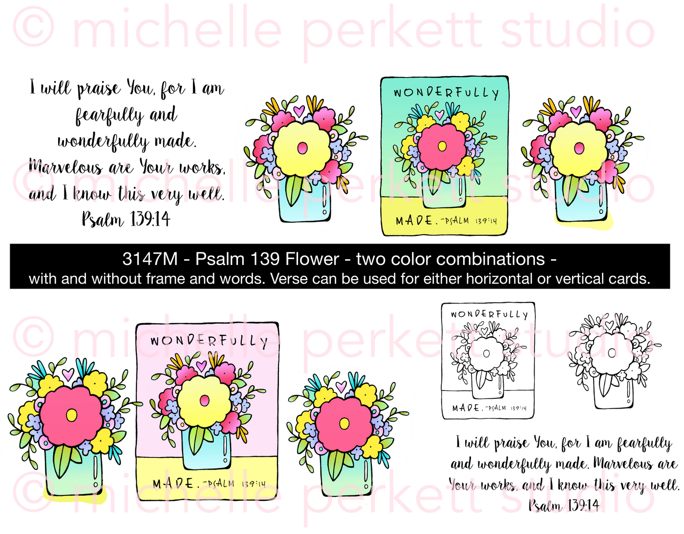 Psalm 139 Flower Digital Stamp Set, DIGI3147M