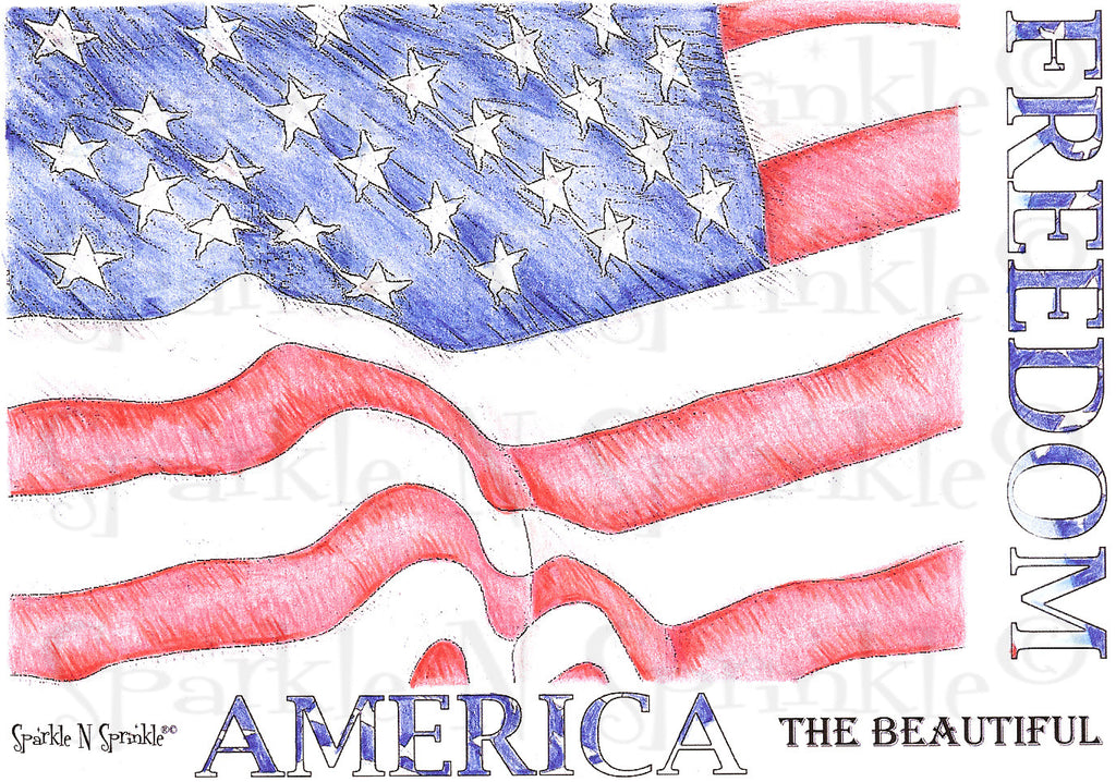 Patriotic Background - Rubber Stamp Set [00-434P4]