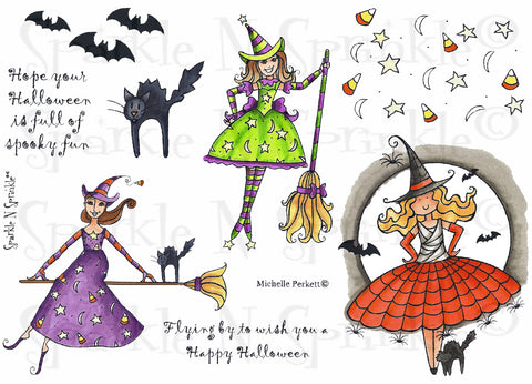Candy Corn Halloween Rubber Stamp Set [00-470P4]