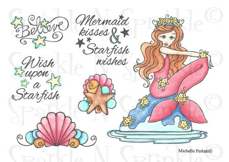 Mermaid Kisses Rubber Stamp Set 529 [00-529P5]