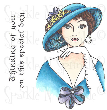 Vivian Hat Lady Rubber Stamp Set [00-534P7]