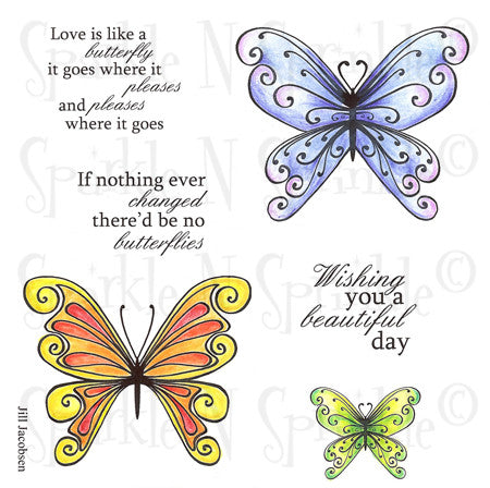 Fancy Butterflies Rubber Stamp Set [00-542P6]