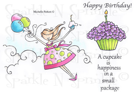Flying Birthday Girl Rubber Stamp Set [00-568P5]