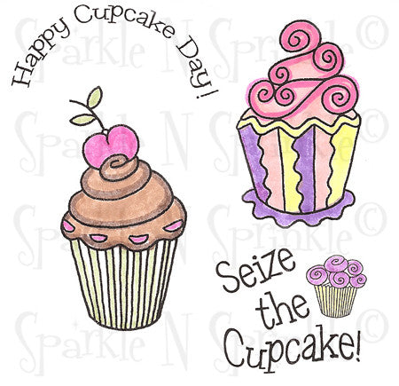 Fancy Cupcakes Rubber Stamp Set [00-586P7]