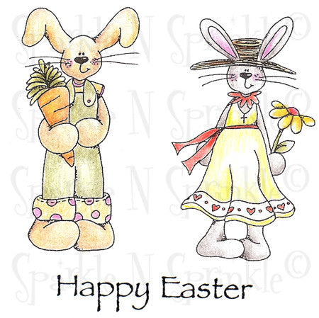 Easter Bunnies Rubber Stamp Set [00-587P7]