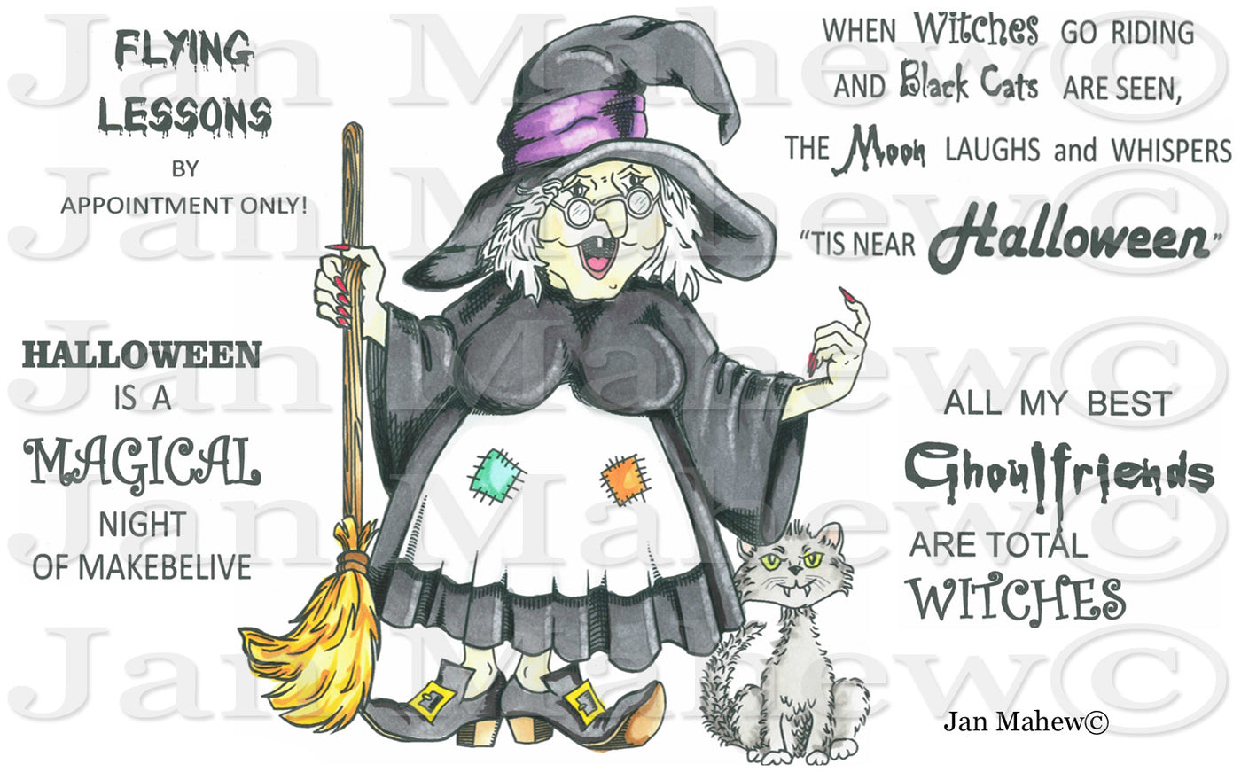 Witchy Gerty Rubber Stamp Set [00-648P5]