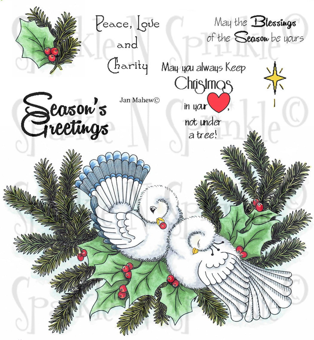 Christmas Doves Rubber Stamp [00-649P6]