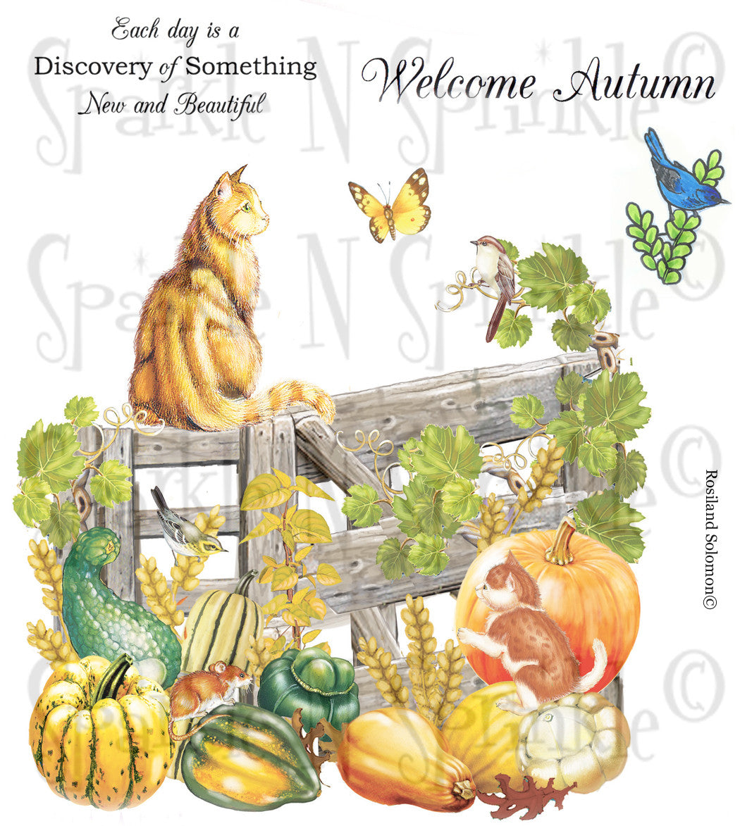 Welcome Autumn Rubber Stamp Set [00-650P6]