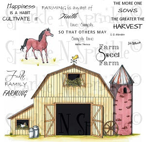 Farm Sweet Farm Rubber Stamp Set [00-652P6]