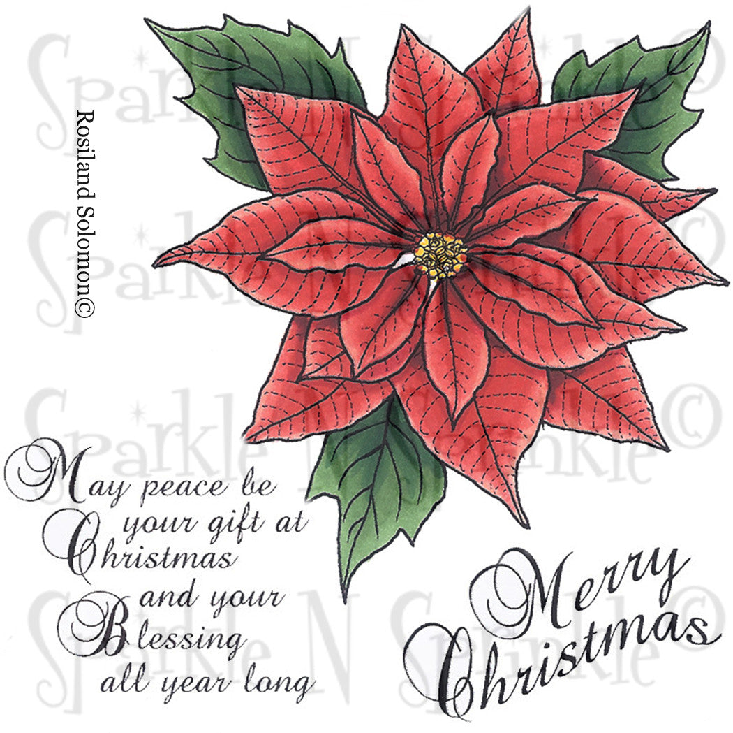 Christmas Poinsettia Rubber Stamp Set [00-690P7]