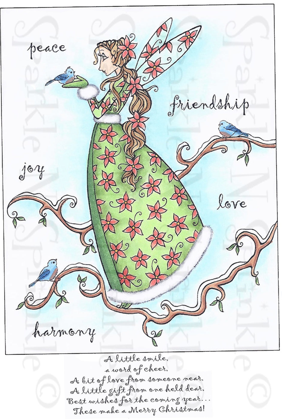 Christmas Friendship Fairy Rubber Stamp Set [00-740P5]