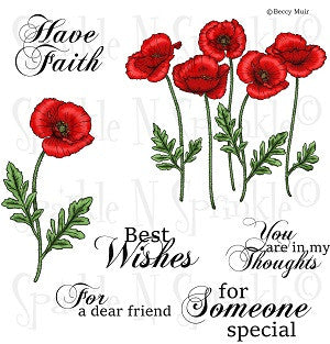 Poppies Rubber Stamp Set [00-771P6]